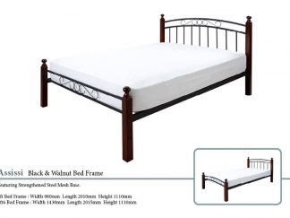 Assissi Metal Bed Frame in Black and Walnut