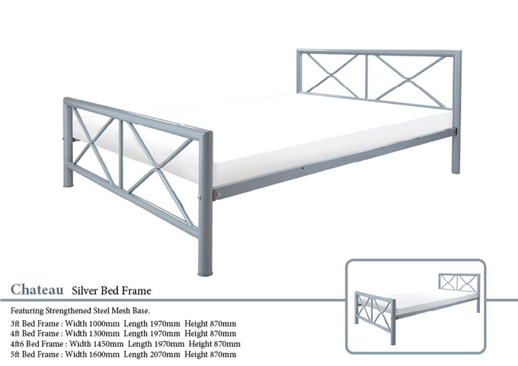 Picture of: Chateau Silver Metal Bed Frame Paul Paice Blinds Beds