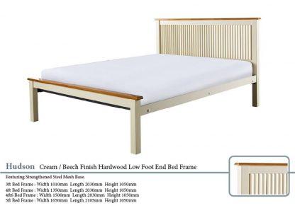 Hudson Cream and Beech Hardwood Bed Frame