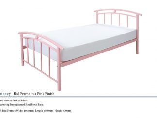 Jersey Metal Bed Frame in Pink Finish