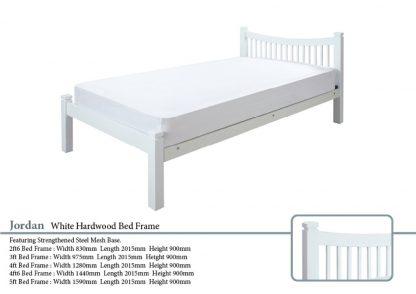Jordan White Hardwood Bed Frame