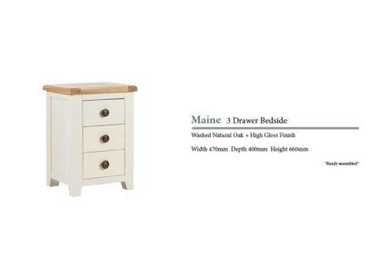 Maine 3 Door Oak Bedside Cabinet Specifications