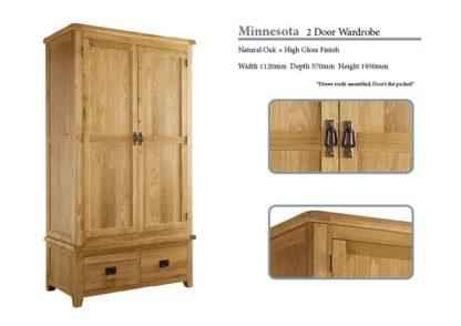 Minnesota 2 Door Oak Wardrobe Specifications