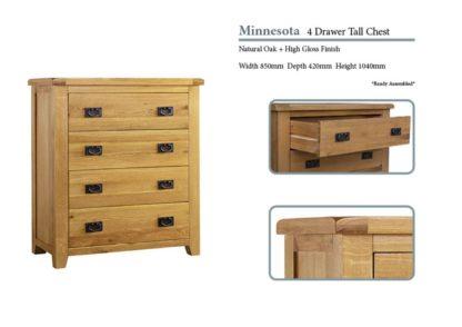 Minnesota 4 Drawer Oak Chest Specifications