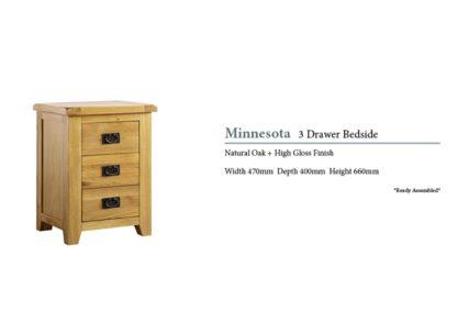 Minnesota 3 Drawer Oak Bedside Cabinet Specifications