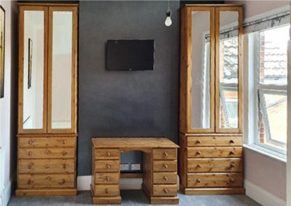 Pine Mirrored Wardrobes on top of Drawers