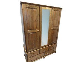 Triple Mirrored Pine Wardrobe