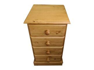 4 Drawer Pine Bedside Cabinet