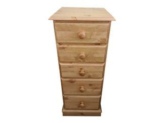 5 Drawer Pine Bedside Cabinet